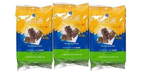 """Sea's Gift"" Korean Seaweed Snack, Kim Nori, Roasted and Sea Salt, 0.17 Ounce, lunch box size, (3 individual packs) NON Gmo, Vegan, Gluten Free For Sale"