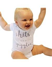 Baby Rompers Short Sleeve Plain Cute Infant Boy Girls...