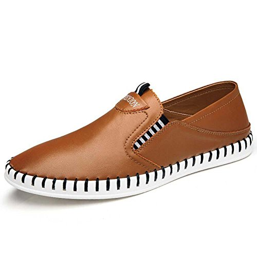 Bomba Ponerse Casual Zapatos mocasín Hombres respirable hueco Color puro Pedal Zapatos Zapatilla Conducción Zapatos Zapatos perezosos Tamaño de la UE 38-44 Brown