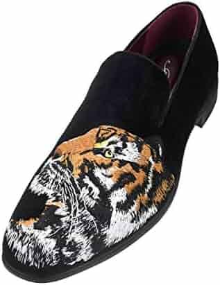 fe1537f12ba02 Amali Men's Velvet Smoking Slipper with Lavish Embroidery Loafer Dress  Shoe, Style Tiger