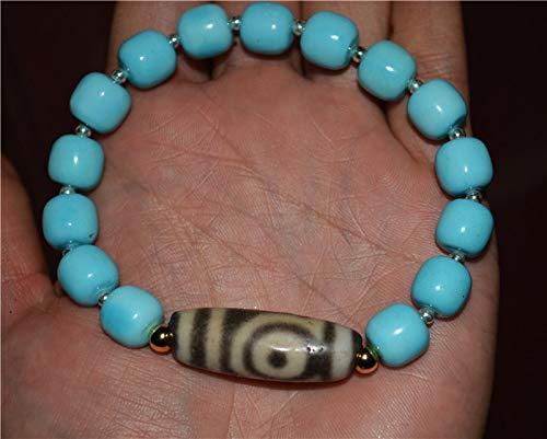 Tibetan Genuine Blue Turquoise Bracelet Mala Prayer Beads Rosary Worry natural green blue Tibet Ancient Two Eyes dzi bead pure 2 eyed gzi amulet charm Necklace Misbaha Komboloi Tasbih Authentic Round stone Amulet Bangle Authentic Chinese China Chain (Wear Dzi Beads)
