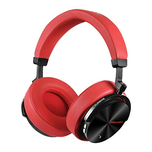 ise Cancelling Headphones Over Ear Wireless Bluetooth Headphones with Mic Portable Stereo Headsets for Cell Phones Travel Work (Red) ()