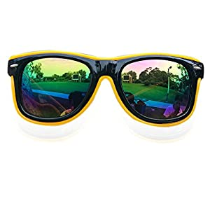 El Wire Glow Sun Glasses Led DJ Glasses Voice control led flashing glasses (Yellow, Colorful)