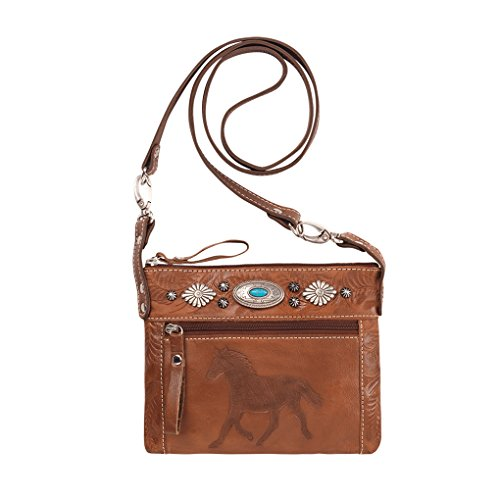 American West Women's Trail Rider Crossbody Bag Brown One Size
