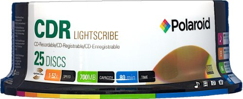 Polaroid PRCDRLS025S Lightscribe CD-R 700MB 80-Minute 52x Recordable Media Disc, 25-Pack Spindle