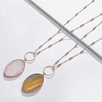 Metal Color: White Davitu Fashion Long Cooper Chain Semi-Precious Big Size Marquise Shape Stone Pendants/&Necklaces for Women