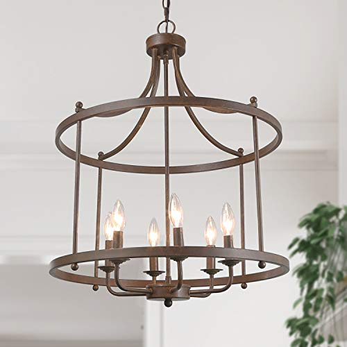 LOG BARN 6 Lights Transitional Island Pendant Drum Lightening Chandelier in Antique Bronze Finish, 21.6 Foyer Light Fixture, A03252
