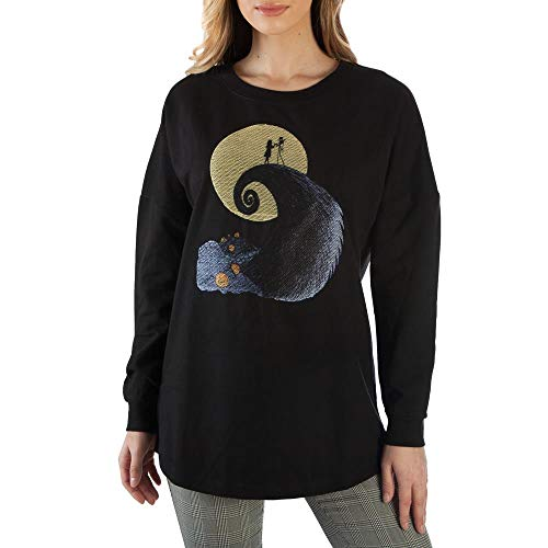 Nightmare Before Christmas Embroidered Slouchy Women's Sweatshirt Medium