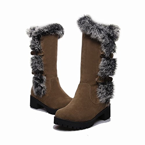 Mee Shoes Damen Pompon chunky heels Plateau runde Stiefel Hellbraun