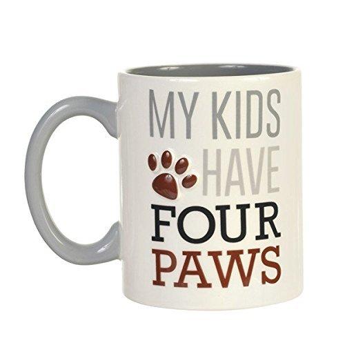 My Kids Have Four Paws Paw Print Ceramic Coffee Mug by Grasslands Road ()