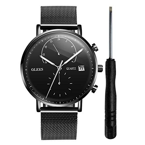 OLEVS Black Inexpensive Watches for Men Waterproof Mens Calendar Watch 2019 Stainless Steel with Day Date Watch 24 Hour Analog Quartz Watch Birthday Party Christmas Holiday Gifts for Men