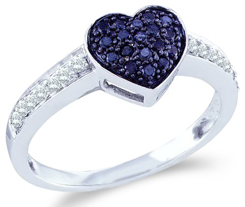 10k White Gold Blue and White Diamond Love Heart Shape Center Setting Round Cut Womens Ladies Anniversary or Right Hand Ring Band (1/3 cttw)