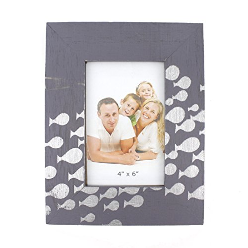 4x6 Inches Simple Rectangular Wood Desktop Family Picture Photo Frame (Blue with Fish (Fish Frame)