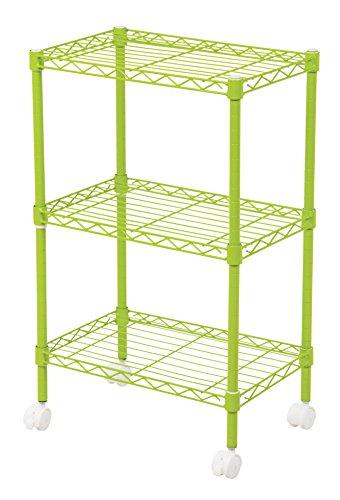 - IRIS 3-Tier Wire Shelf with Casters, Green