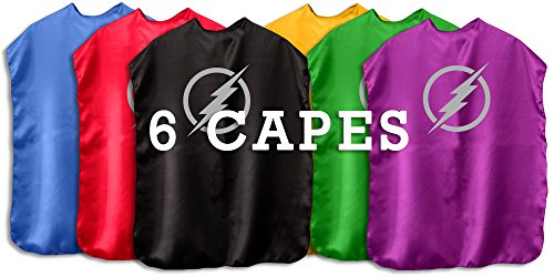 Superhero Cape with Printed Emblem Set of 6 (All Lightning Bolts) (Star Cape)