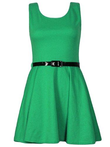 Candy Girl Clothing Sleevless Plain Skater Dress Belted (ML, Green)]()