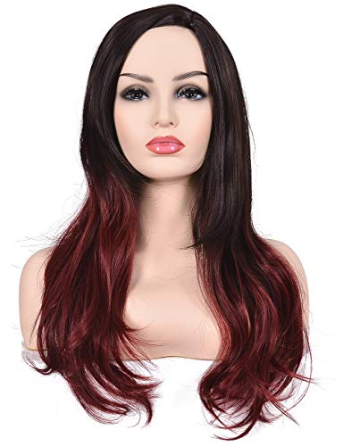 Morvally Women's Long Wavy Ombre Brown Dark Red Color Side Part Scalp Synthetic Wig for Cosplay Costume Halloween Party for $<!--$15.39-->