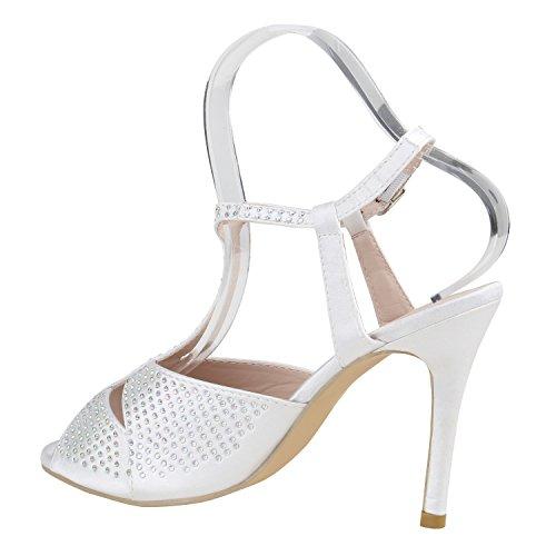 Stiefelparadies Damen Riemchensandaletten Strass Sandaletten Stilettos High Heels Party Schuhe Glitzer Lack Mid Heel Sandalen Flandell Weiss Samtoptik