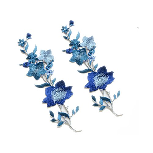 New Plum Blossom Flower Applique Clothing Embroidery Patch Fabric Sticker Iron On Sew On Patch Craft Sewing Repair Embroidered(Blue)