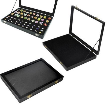 Itian 100 Slot Earring Ring Jewelry Display Storage Box Tray Case Organizer Holder w/Glass Top