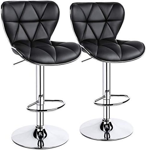 YAHEETECH 2pcs Adjustable Bar Stools PU Leather Swivel Bar Chair