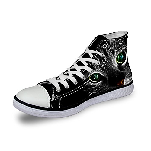 HUGS IDEA HUGSIDEA Personalized Cat Eyes Mens Canvas Shoes Casual High Top Lace Up Sneakers US5 d7Sm5nJex