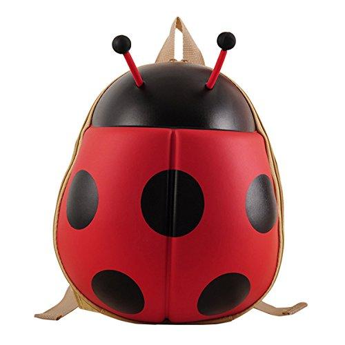 [Hanshu Ladybird Kid Backpack for Kindergarten Elementary School Red] (Skeleton Costume Pose)