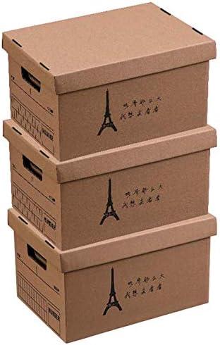 LHY SAVE 3 Pcs Cajas De Cartón,Caja De Almacenaje De Cartón,con Tapa Y Asa,Fácil De Ensamblar, para Regalo, Almacenamiento En El Hogar, Oficina Y Mudanza, 45 * 32 * 28.5cm,A: Amazon.es: Hogar