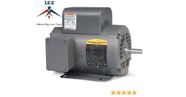 5 HP Single Phase Baldor Electric Compressor Motor 184T Frame # L1410T Fdl Tm Baldor Capacitor Wiring Diagram on