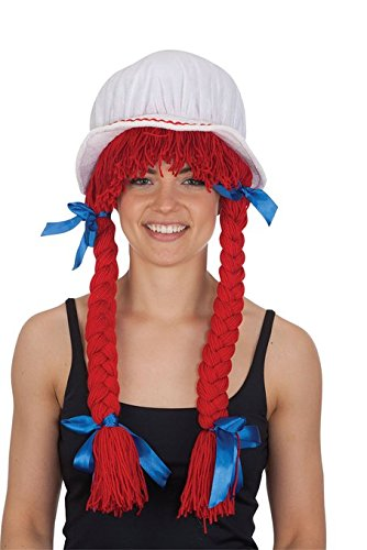 Jacobson Hat Company Women's Bonnet with Red Braids, Multi, Adult -