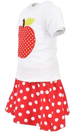 Unique Baby Girls Back to School Apple Skirt Boutique Outfit (5T/L, Red) by Unique Baby (Image #1)