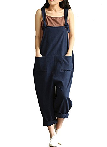 YAELUCKY Women Cotton Linen Overalls Adjustable Strap Pattern Sleeveless Jumpsuit With Pockets