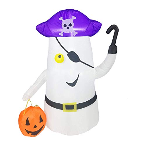 Dreamone 4 Foot Halloween Inflatable Pirate Ghost with Flashing Pumpkin Light for Halloween Indoor Outdoor Yard Garden Party Decorations