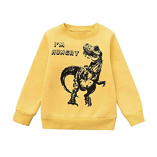Baby Boys Sweater,Fineser Cute Children Kids Boys Dinosaur Letter Print Warm Tops Sweatshirt Tracksuit Pullover Clothes 3 Color (Yellow, 18-24 Months(90))