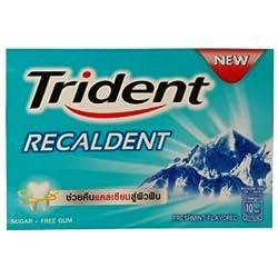 Trident Recaldent Chewing Gum Freshmint Flavored Sugar Free Dental Health Net Wt 11.2 G(pack of 9)