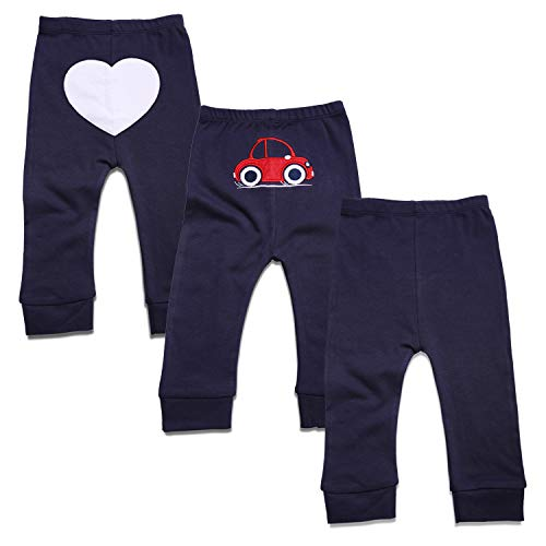 ROMPERINBOX Baby Newborn to Toddler Cotton Pants Gift Set of 3 for Boy Girl (9-12M, Heart Car Solid for Boy)