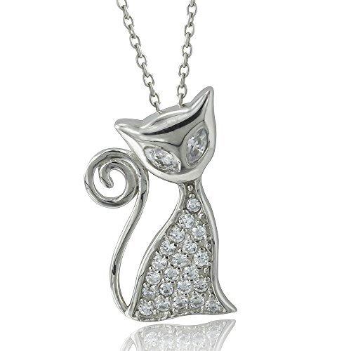 silverluxe de la mujer plata de ley Circonita gato colgante collar: Amazon.es: Joyería