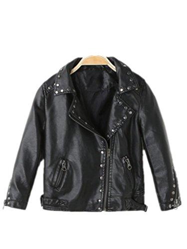 Girl's Biker Jacket faux leather Rivets Leather Motor Jacket