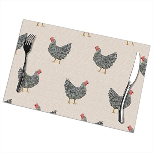 (Homemen Placemats for Dining Table,Plymouth Rock Chicken Breed Farm Sanctuary Fabric Pattern Beige_3826,Non-Slip Insulation Placemat Washable PVC Polyester for Kitchen Banquet Party Colourful)