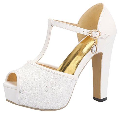 Zapatos Sandalias de Blanco Brillantes Peep Ancho Tacon Correa Plataforma Boda Mujer de Tobillo Toe con Tacon UH 5wZq7p