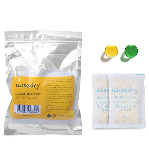 (20 Gram [12 Packs] wisedry Silica Gel Packets Rechargeable Desiccant Dehumidifiers with Orange Beads Desiccant Packets Indicating Moisture Absorber for Air Dryer Moisture Removal Food Grade)