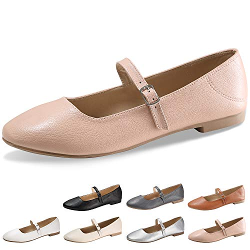 - CINAK Flats Mary Jane Shoes Women's Casual Comfortable Walking Buckle Ankle Strap Fashion Slip On(5-5.5 B(M) US/ CN37 / 9.2'', Pink)