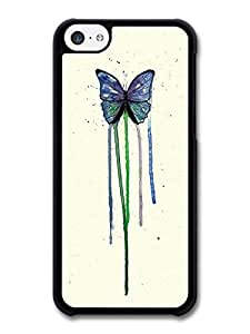 MMZ DIY PHONE CASEButterfly Watercoloru Insect Blue Green Original Art case for ipod touch 5
