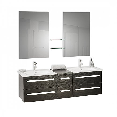 [Beliani 7081456617250 Madrid Black Classy Floating Bathroom Vanity, with Double Sinks and Mirrors Living Room Furniture Sets] (Drawers Double Sink Vanity)