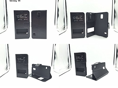 Window View Leather Flip Wallet Style Case Cover Stand for Samsung Galaxy Note 3, Note 4, S4, S5, S6, (Galaxy S5 Black)