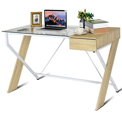 (AK Energy Clear Glass Top Computer Desk Wood Metal Frame Drawer Home Office Furniture X Cross Leg)