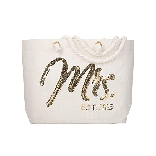 ElegantPark Future Mrs. EST. 2019 Personalized Bride Tote Wedding Bachelorette Bridal Shower Gifts Large Shoulder Bag Gold Sequin with Interior Pocket Jute -
