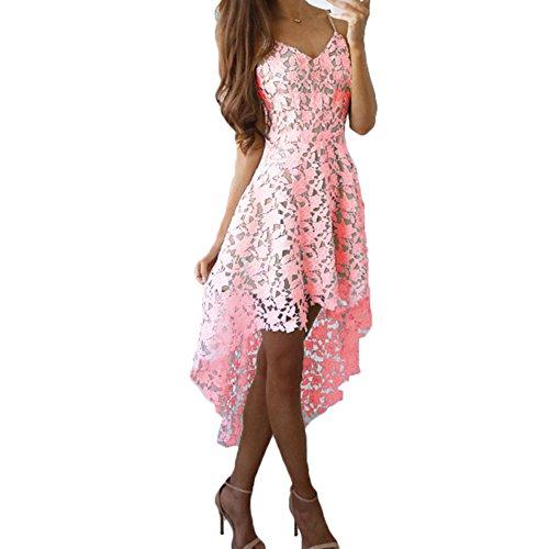 Damen Kleider Spitzenkleid Schlinge V Ausschnitt Kleider Frauen ...