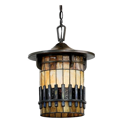 Quoizel TFAR1912BE Autumn Ridge 16 1/2-Inch Large Hanging Lantern with Tiffany Glass, Bergamo Finish