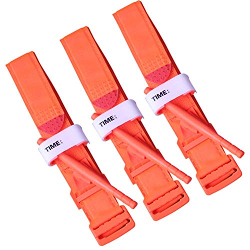 3-Pack Emergency Limb Bleeding Control System Self-Help Tourniquet MRI Safe for EMT EMS by Warp United - Individual Latex Free Tourniquets